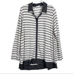 Pleione Knit Striped Button Front Tunic L
